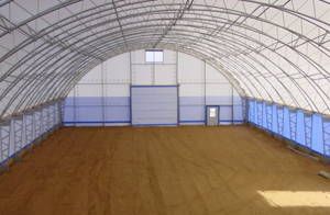 Interior of freestanding trussed Quonset